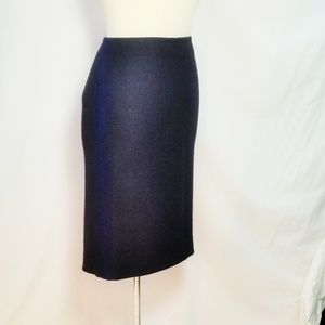 Prada Virgin Wool Pencil Skirt Black Blue